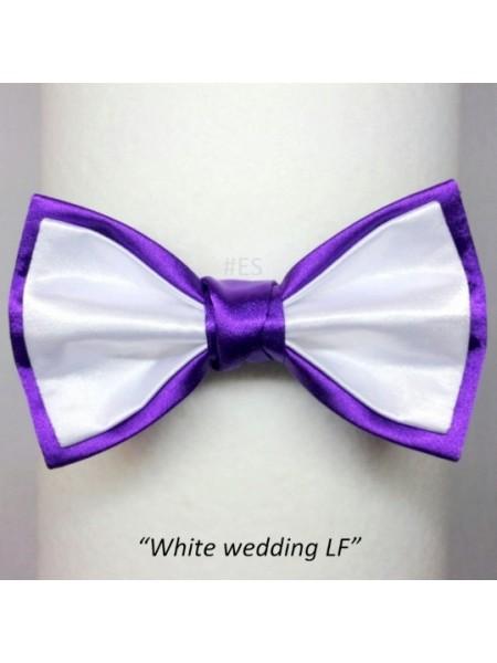 Галстук-бабочка БЕЛАЯ С ФИОЛЕТОВЫМ свадебная